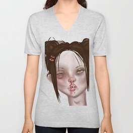 u think she looks bad? well u should see the other guy... Unisex V-Neck