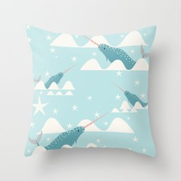 narwhal in ocean Throw Pillow