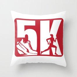5 kilometers of running shoes sprint marathon gift Throw Pillow