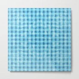 Aqua Blue Velvety Gingham Plaid Texture Metal Print