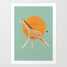 Giraffe and Sun Art Print