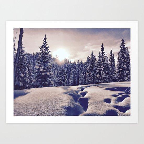: morning snow :  Art Print