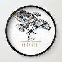 battlestar Wall Clocks featuring The Serenity by Josh Ln