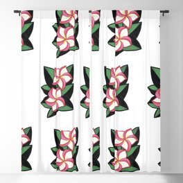 Large pink tropical flowers on black and green leaves Blackout Curtain
