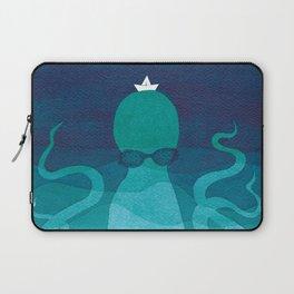Octopus, sea creature, animals, ocean watercolor teal blue Laptop Sleeve