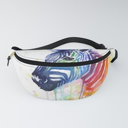 Zebra Watercolor Rainbow Animal Painting Ode to Fruit Stripes Fanny Pack