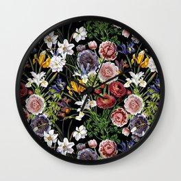 Vintage & Shabby Chic - Lush baroque flower pattern Wall Clock
