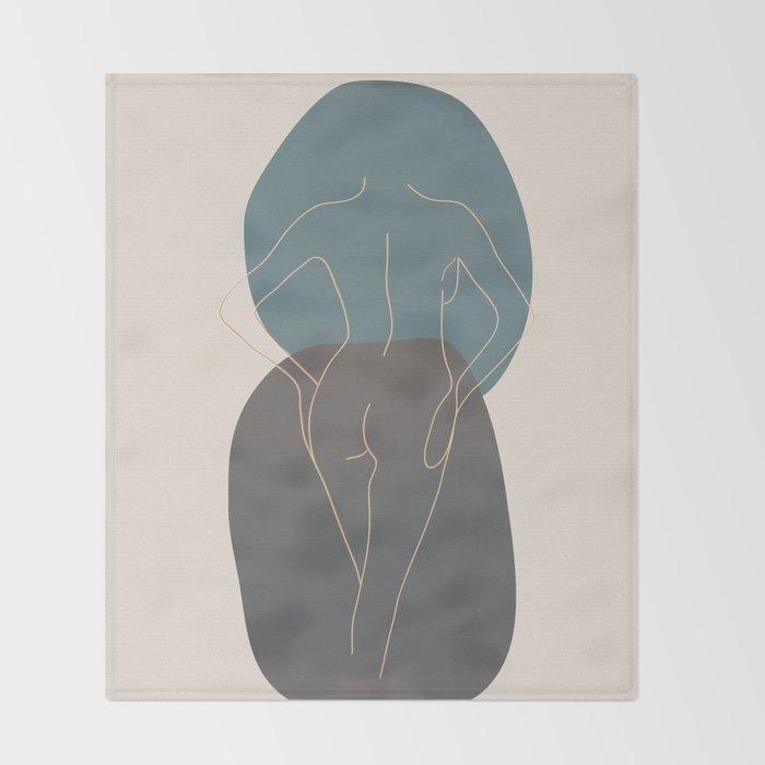 Line Female Figure 80 Throw Blanket