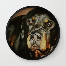 Dogs Lover Rottweiler Pet Portrait Wall Clock