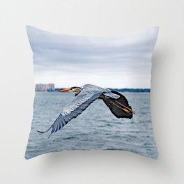 In Flight ~ Blue Heron Throw Pillow