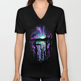 Night With Aurora Unisex V-Neck