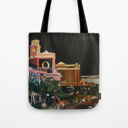 Las Vegas Strip Oil On Canvas Tote Bag