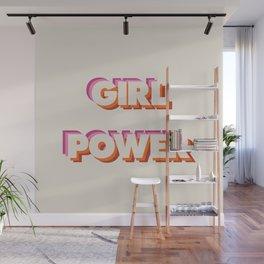 Girl Power // in Orange Pink Beige Wall Mural