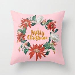 Gold Christmas Poinsettia Floral Wreath on Pink Throw Pillow
