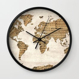 world map music vintage Wall Clock