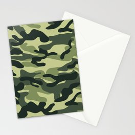 Green Military Camouflage Pattern Stationery Cards