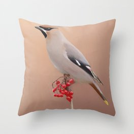 Waxwing with Berries Throw Pillow