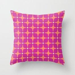 Mid Century Modern Star Pattern 143 Magenta and Orange Throw Pillow