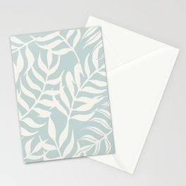 Coastal Palm Leaves on Pastel Blue by Erin Kendal Stationery Cards