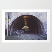 bicycles Art Prints featuring Bicycles by Megan Curran