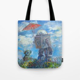 Robot with Parasol Tote Bag