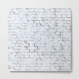 Vintage White Brick Wall Metal Print