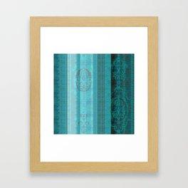 Boujee Boho Deep Teal Lines Framed Art Print