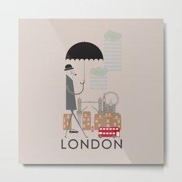 London - In the City - Retro Travel Poster Design Metal Print