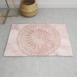 Misty pink marble rose gold mandala Rug