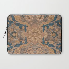 Persian Motif I // 17th Century Ornate Rose Gold Silver Royal Blue Yellow Flowery Accent Rug Pattern Laptop Sleeve