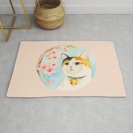 """""""Hanami"""" - Calico Cat and Cherry Blossom Rug"""
