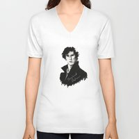 sherlock holmes V-neck T-shirts featuring Sherlock Holmes by StarshipRanger
