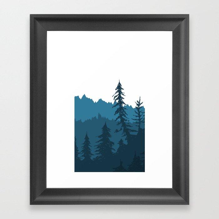 Tree Gradient Blue Gerahmter Kunstdruck