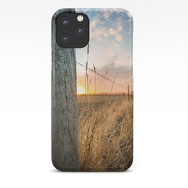 Late December - Western Scene of Fence Post and Sunset iPhone Case