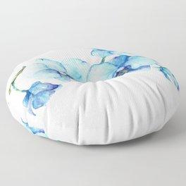 Blue Orchids - Watercolor Botanical Art Floor Pillow