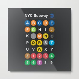 New York City subway alphabet map, NYC, lettering illustration, dark version, usa typography Metal Print