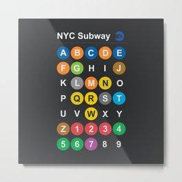 New York City subway alphabet map, NYC, lettering illustration, dark version, usa typography Metal Print