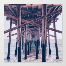 Balboa Pier Print {2 of 3} | Newport Beach Ocean Photography Magenta Summer Sun Wave Art Canvas Print