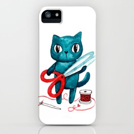 Sewing cat iPhone Case