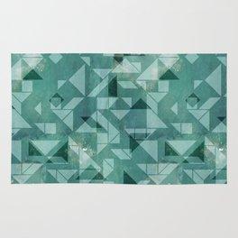 Green watercolor tangram triangle pattern Rug