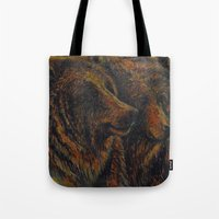 bears Tote Bags featuring Bears by lyneth Morgan
