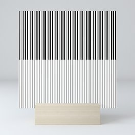The Piano Black and White Keyboard Stripes with Vertical Stripes Mini Art Print
