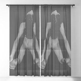 0001-DJA Zebra Striped Nude Woman Yoga Black White Abstract Curves Expressive Lines Slim Fit Girl Sheer Curtain