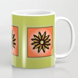 Orange Stitched Flower Coffee Mug