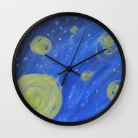 fireflies Wall Clocks featuring Fireflies by Angelina Yvette
