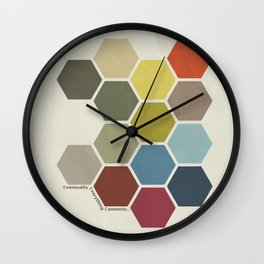 Eventually Everything Connects // Honeycomb Modern Abstract Poster Wall Clock