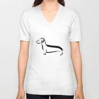 dachshund V-neck T-shirts featuring Dachshund by Katy Shorttle