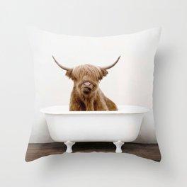 Highland Scotland Cow, Shower Time Throw Pillow