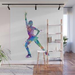 Ice Skating Girl 2 Colorful Watercolor Art Wall Mural
