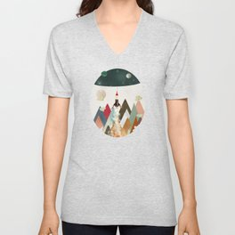 living on the moon Unisex V-Neck